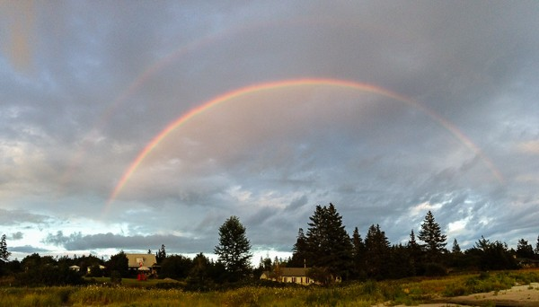 double rainbow in Halls Harbor, Nova Scotia